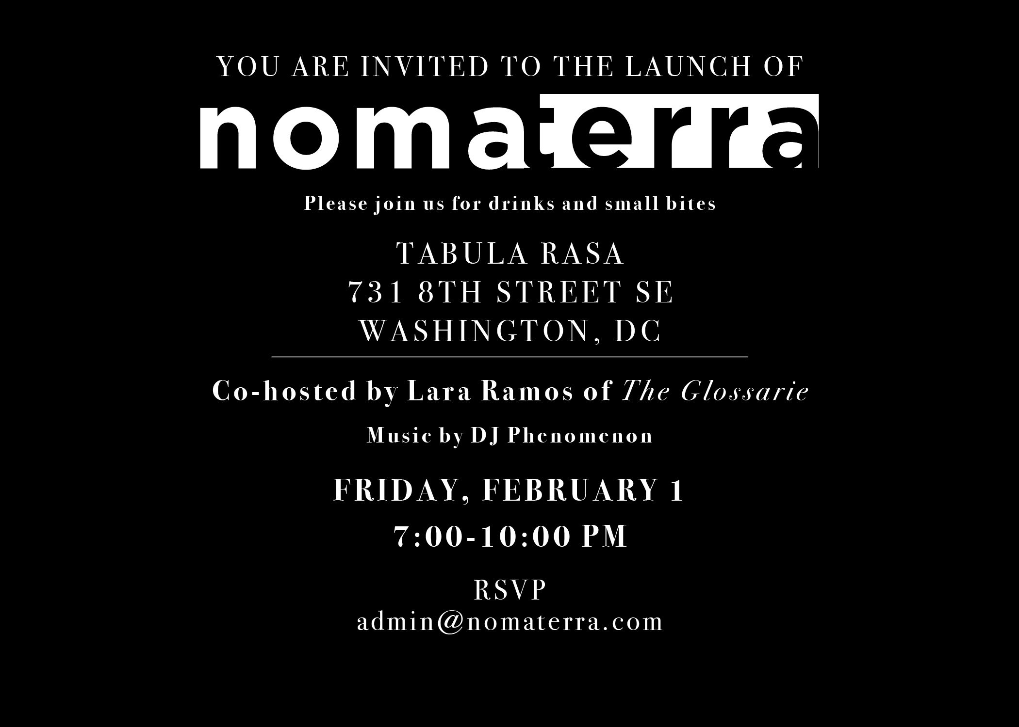 nomaterra dc fragrance  launch party  the glossariethe glossarie, party invitations